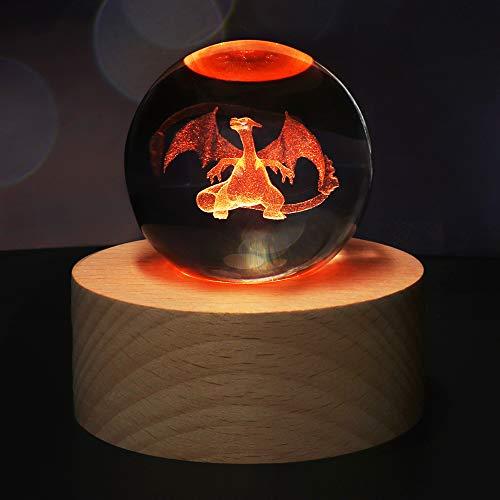 Regalo di Natale Sfera di Cristallo 3D, Regali di Compleanno per Bambini, con Base della Lampada in Legno, Telecomando a 7 Colori e 16 Cambi di Colore, con Confezione Regalo (Charizard)