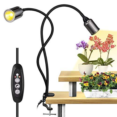 Relassy Lampade per Piante, 4 Livelli Regolabili Lampada di Crescita con Collo di Cigno Flessibile, Funzione di temporizzazione Ciclo, Spettro Completo coltiva la Lampada per Piante (F-75W)