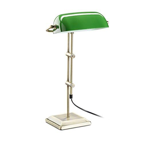 Relaxdays 10022856 Lampada Ministeriale Verde da Tavolo Tavolino in Vetro Decorativa Retro Effetto Ottone HLP: 52 x 27 x 18 cm Bronzo, metallo;vetro