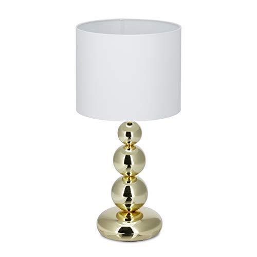 Relaxdays 10024789 Lampada da Tavolo Dorata, Rotonda, dal Design Originale, E27, Camera da Letto Soggiorno,Hxd 50 X 25,Bianco/Oro