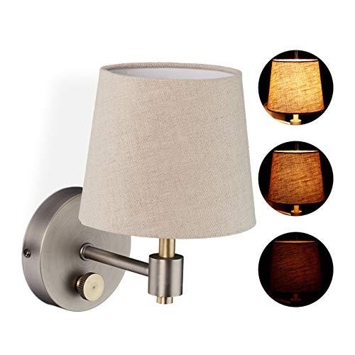 Relaxdays Beige Lampada da Parete Vintage, Regolabile, Applique con Manopola, Paralume Stoffa, 23 x 15 x 21 cm, Argento, 1 pz