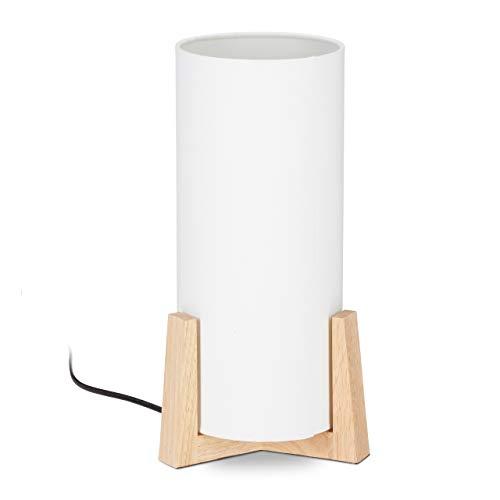 Relaxdays Lampada da Tavolo con Base in Legno, Rotonda, dal Design Originale, E14, HxD 33 x 15 cm, Bianco/Legno Naturale