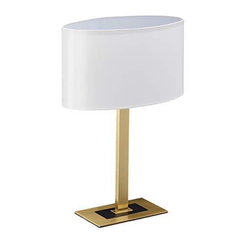 Relaxdays Lampada da Tavolo, Elegante Abat Jour, Scrivania, Moderna con Cavo, E14, Paralume Ovale,48x33x19,5 cm, Ottone