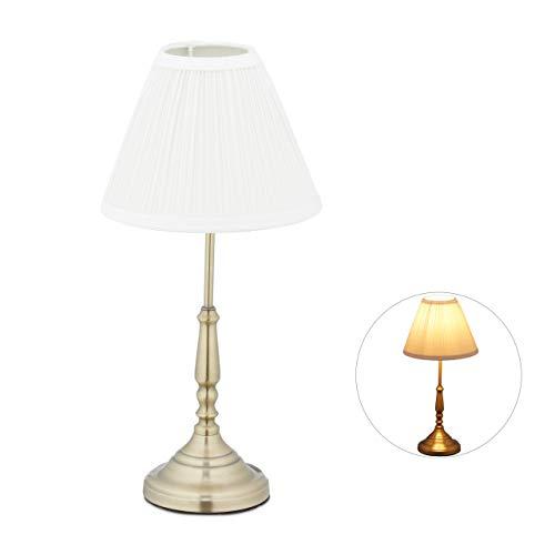 Relaxdays Lampada da Tavolo, Paralume in Stile Vintage, Salotto & Camera, Luce da Comodino, 43 x 21 cm, Dorato, Bianco/Oro