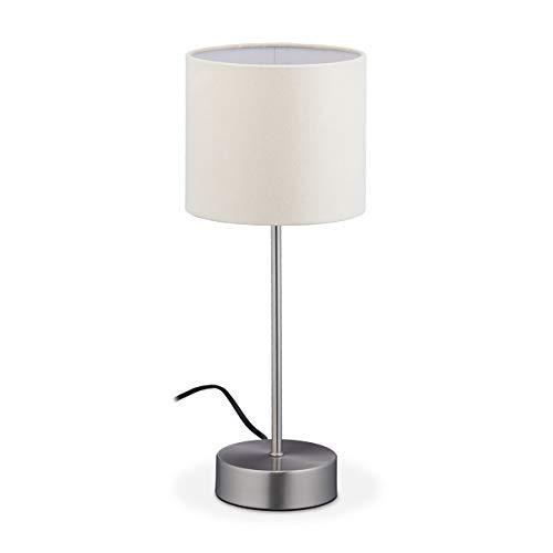 Relaxdays Lampada da Tavolo Touch, Luce Funzione Dimmerabile, E14, 3 Livelli di Intensità, Design Moderno, Argento/Crema