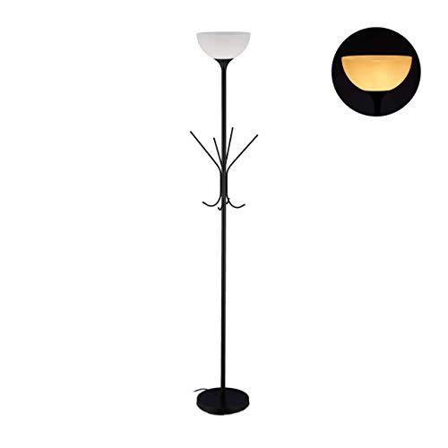 Relaxdays Lampada da Terra con Appendiabiti, 8 Ganci, Design Moderno, E27, Metallo, HxD 180x33 cm, Nero