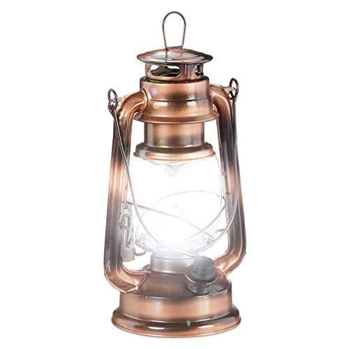 Relaxdays Lanterna LED, Lampada Decorativa retrò per Finestre o da Giardino, a Batteria, Rame