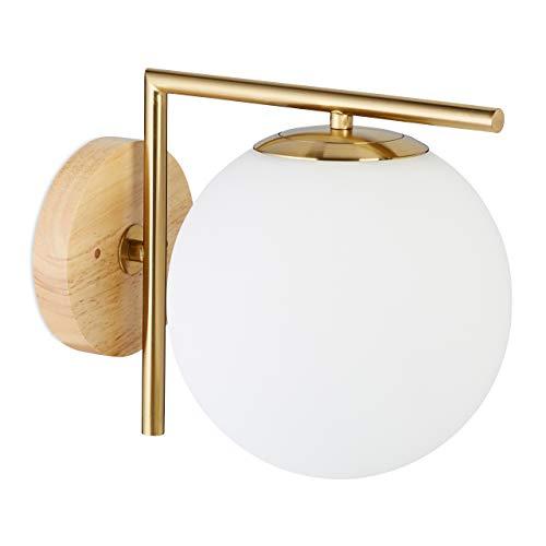 Relaxdays ottone Lampada a parete, applique GLOBI, metallo, paralume sferico in vetro, 23x20x28, moderna, color E27, 40 W, 23x20x28 cm