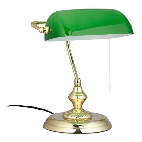 Relaxdays, Verde, Lampada da Scrivania con Interruttore a Catena, Base Rotonda, Vintage, Vetro Hlp 31 x 22.5 x 18.5 cm, Ottone