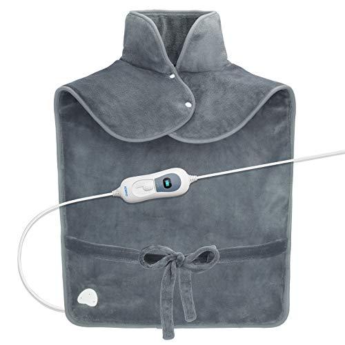 RENPHO Riscaldatore per il sollievo dal mal di schiena, 60 x 90 cm di spessore per il collo e le spalle, riscaldamento rapido con 3 impostazioni di temperatura, grigio