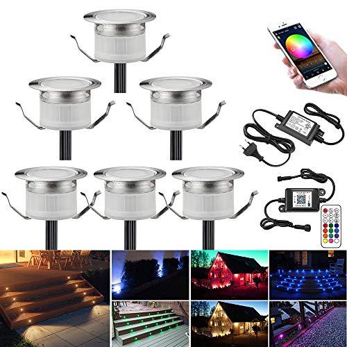RGB Faretti LED da Incasso Impermeabile IP67 Ø45MM + Controller WiFi - Illuminazione per Terrazza/Patio/Percorso/Parete/Giardino/Decorazione, 6 confezioni