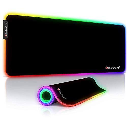 RGB Tappetino Gaming, 12 LED Colori e Effetti di Luce Grande Gaming Keyboard Mouse Pad, Resistente all'Acqua con Superficie Liscia, Base in Gomma Antiscivolo, per Giocatori, Computer PC e Laptop