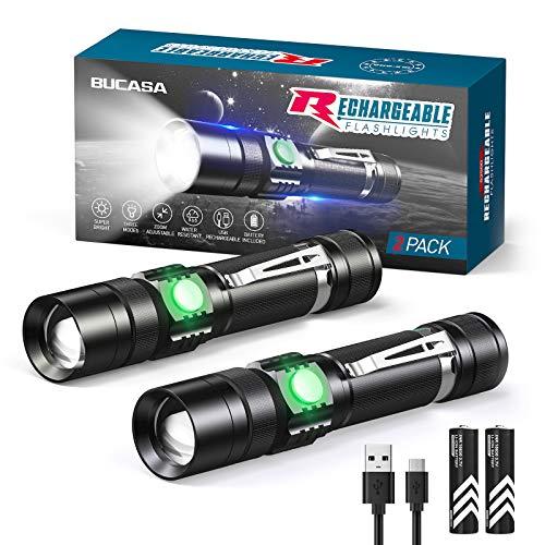 Ricaricabile Torcia LED, LETMY Torcia LED 1600 Lumen Super Luminoso, IP65 impermeabile, 3 modalità, torcia per Campeggio, Trekking, Emergenza, Con 18650 Batteria (2 Confezioni)