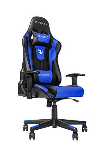 RIGHT TECHNOLOGY - Sedia da gaming da ufficio per gaming, sedia ergonomica con braccioli regolabili, telaio in acciaio, angolo di inclinazione regolabile, colore: Blu