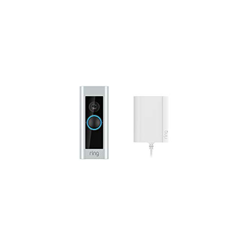 Ring Video Doorbell Pro con alimentatore plug-in, video in HD a 1080p, comunicazione bidirezionale, Wi-Fi, rilevazione di movimento, Include un periodo d'uso gratuito di 30 giorni di Ring Protect Plan