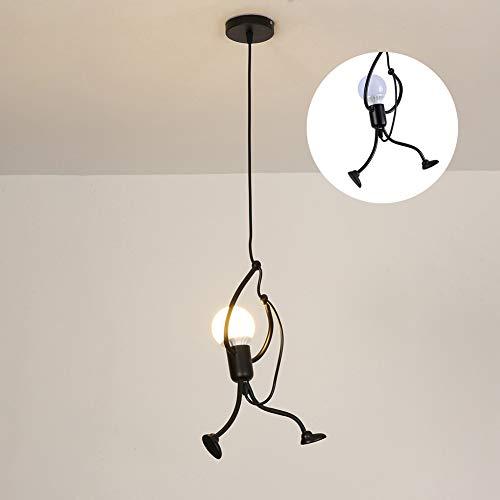 RMane Lampada a sospensione creativa in ferro, lampadario da soffitto per cameretta dei bambini, camera da letto, soggiorno, foyer cucina, E27, moderna, lampada non inclusa (nero)