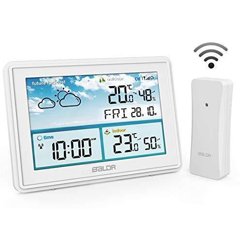 ROVLAK Meteo Stazione Senza Fili Digitale Termometro Igrometro Grande LCD Schermo Frost Attenzione Previsione Stazione Indoor All'aperto Temperatura umidità per Home Ufficio Vivaio (Bianco)