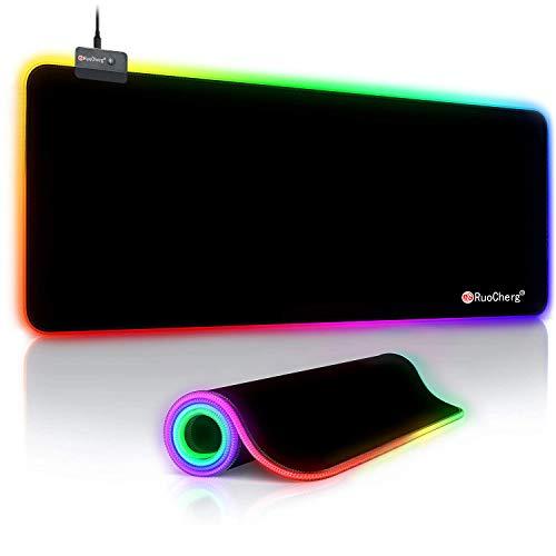 RuoCherg Tappetino Mouse Gaming, RGB Grande Mouse Pad 14 Effetti Luce XXL 80x30cm Superficie Liscio, Base in Gomma Antiscivolo Tappetino per Mouse per Computer, PC e Laptop