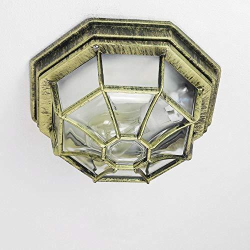 Rustico Esterno Plafoniera Lampada per esterni in oro antico E27 fino a 100W IP54 per giardino Cortile Luce per esterni Illuminazione A Soffitto