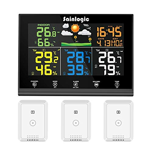 Sainlogic - Stazione meteo radio con 3 sensori esterni, previsioni meteo, display a colori, termometro radio igrometro con sensore esterno