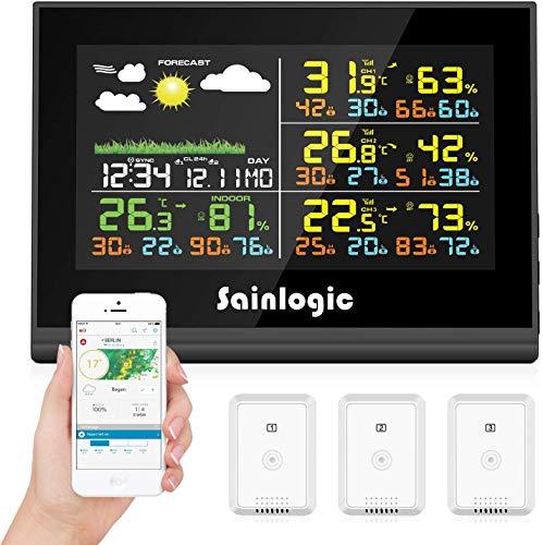 Sainlogic - Stazione meteorologica wireless con 3 sensori esterni, previsioni meteo, display a colori, modello miracoloso, orologio sincronizzato automaticamente