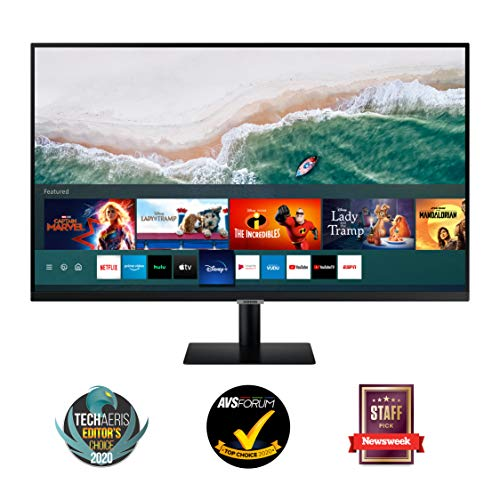 "Samsung Monitor Smart M5 da 27"", 16:9, Full HD, TV Smart Hub (Amazon Video, Netflix), Airplay e Mirroring, Office 365, Wireless Dex, Casse Integrate, WiFi, HDMI, USB, Bluetooth, No TV Tuner, Nero"