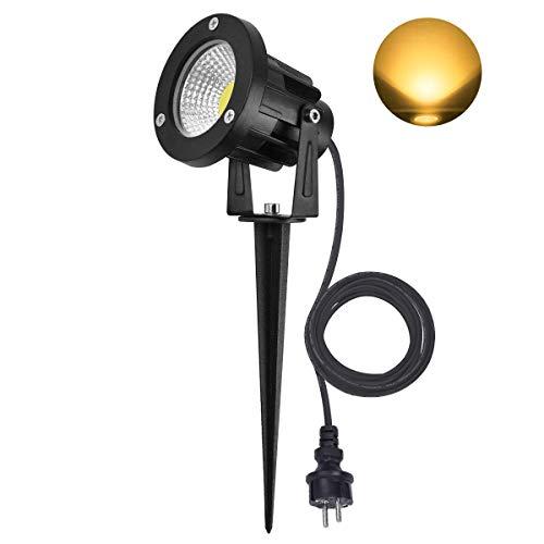 SanGlory 7W Faretto LED da Esterno, IP65 Impermeabile Lampada Luci da Giardino con Picchetto, Luce Bianca Calda per Giardino Esterna
