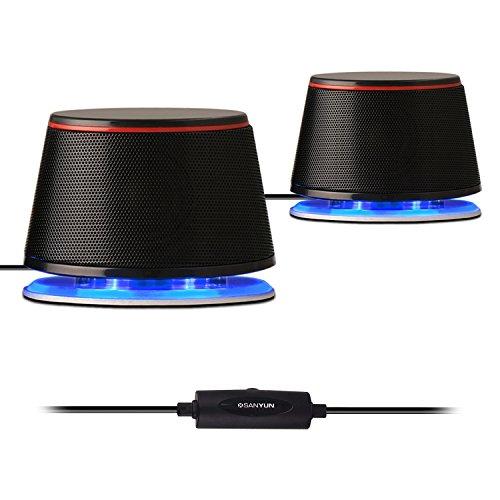 Sanyun SW102 Altoparlante per computer, 5Wx2, piccolo volume e forte accento, 2,0 altoparlante stereo con interfaccia audio USB da 3,5 mm, altoparlante da tavolo per PC portatile, nero