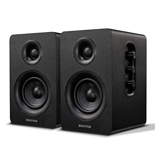 """Sanyun SW208 - Altoparlanti da scaffale Bluetooth attivi da 3"""" - Altoparlante in fibra di carbonio da 60 W - Codec aptX - DAC integrato a 24 bit - Monitor PC (coppia, nero)"""