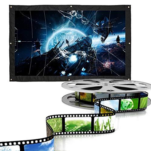 Schermo Per Proiettore, 16: 9 Telo Di Videoproiettore Per Casa e Ufficio, Schermo per Videoproiettore Proiezione, per Proiezioni Domestica o All'aria Aperta Proiezioni, Bianco(100 pollici)