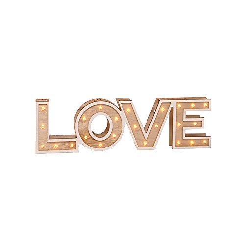 """Scritta """"Home"""" o """"Love"""" luminosa decorativa, in legno, a LED colore bianco caldo, legno, love"""