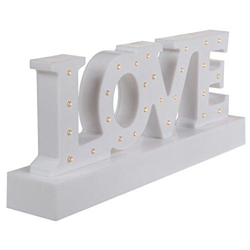 Scritta in plastica bianca, Love, con 27 LED bianco caldo, ca. 30 x 12 cm, per 3 pile mignon (AA), in confezione regalo