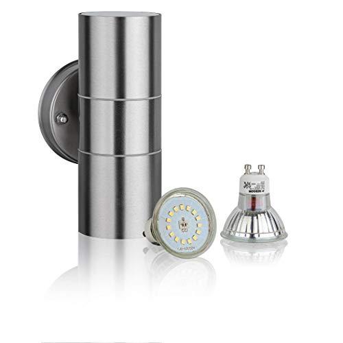 SEBSON® LED Lampada da Parete Esterno, Applique Esterno Doppia Luce, Acciaio Inox Argento, incl. 2x Lampadina GU10 3,5W Bianco Freddo