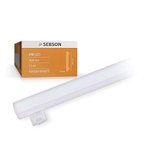 SEBSON® S14S 4W Lampadina LED (pari a 35W), 400lm, bianco caldo, angolo di diffusione di 150°, ø30x300mm