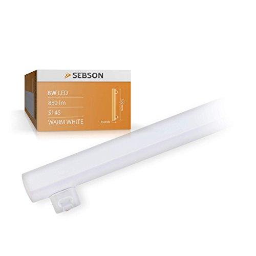 SEBSON® S14S 8W Lampadina LED (pari a 65W), 880lm, bianco caldo, angolo di diffusione di 150°, ø30x500mm