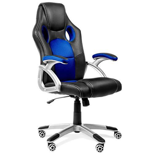 Sedia da ufficio Racing Gaming sport poltrona girevole colore bleu -McHaus