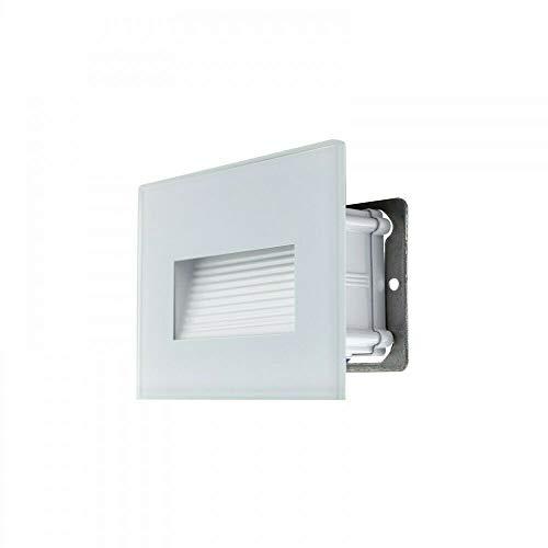 Segnapasso Led 4W Incasso Cassetta 503 Ip65 Cornice Vetro Bianco Luce Calda 3000K