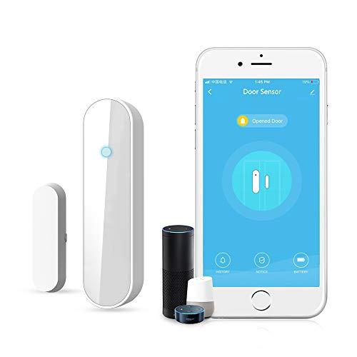 Sensore di apertura porte e finestre, intelligente rivelatore di sensori magnetici per porte e finestre funziona con Alexa Google Home IFTTT, sensore di porta aperta wireles, controllo APP, batteria