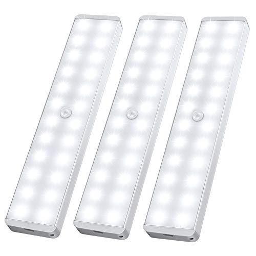 Sensore di movimento per luci, 24 LED luce per armadio Ricaricabile Sotto Il Gabinetto Cucina Armadio Leggero Stick-Anywhere Luce Notturna per Bar, Scale, Corridoio (3 Pezzi)