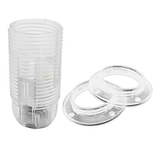 SET attacco trasparente E14 + 2 anelli a vite, filettatura M10 x 1 attacco a vite in termoplastica per lampadina a incandescenza e a LED