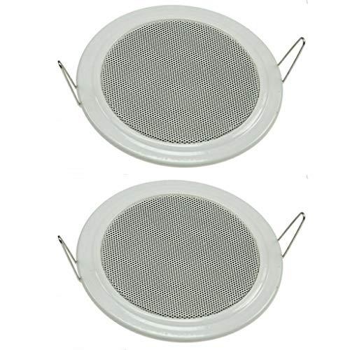 Set di 2 altoparlanti da incasso a soffitto e a parete, Ø 135 mm, 60 Watt, griglia di protezione in metallo, morsetti 8 Ohm, montaggio semplice a molla, colore bianco