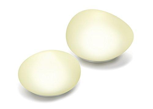 Set di 2 luci in vetro temperato con 2 luci di colore bianco neutro, 4100 K, decorazione da giardino, con luci solari, esotec 102084