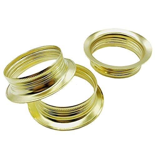 Set di 3 anelli a vite, per portalampada con attacco E27, in metallo di colore ottone, altezza di 15 mm, adatti per paralumi o elementi in vetro
