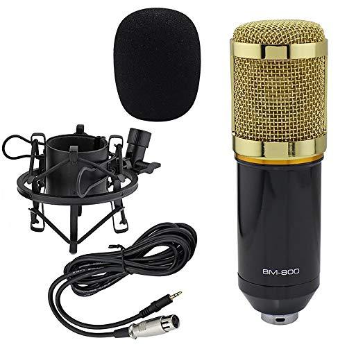 Set microfono a condensatore professionale, BM-800, microfono da tavolo, registrazione microfono, suono, Podcast Studio radio per registrazione Podcast PC Gaming ohne Arm Ständer&Halter gold