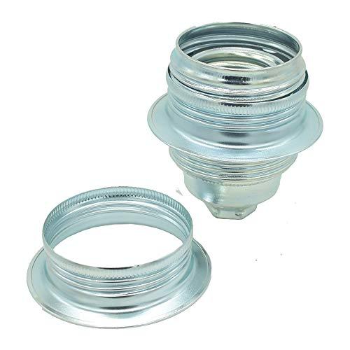 Set portalampada E27 + anelli a vite in metallo cromato M10 x 1.