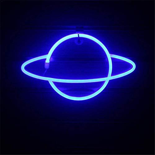 Sfuzwg Luce al neon, LED Planet Insegna al neon Luce decorativa da parete Applique, Luce notturna sospesa morbida, Per la decorazione della parete del bar di casa