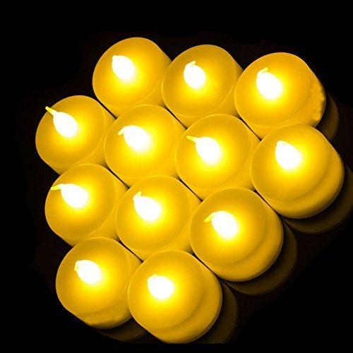 SHINE, Set di 24 Candele tremolanti, Funziona a Batteria, Senza Fiamma, con Due dozzine di Candele a Lunga Durata