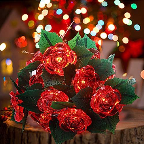 shirylzee Catena Luminosa, 3M Ghirlanda Luminosa Rosa Fiore Stringa Lucine Luci Stringa Esterno Impermeabili Decorative con 20 LED per Nozze San Valentino Stanza Giardino Patio Festa Decorazioni