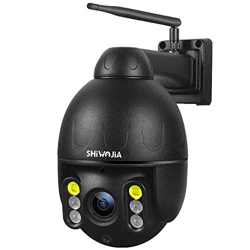 SHIWOJIA Telecamera di Sorveglianza IP PTZ Dome,1080P WiFi Esterno Senza Fli Telecamera, Visione Notturna, Audio a 2 Vie, IP66 Impermeabile Scocca in Metallo, Tracciamento Automatico(Nero)