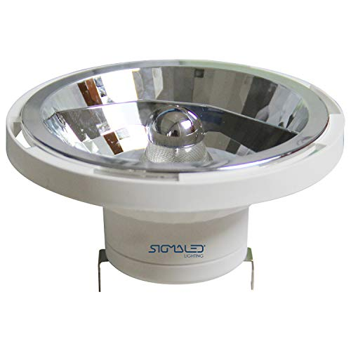 SIGMALED LIGHTING FARETTO LED AR111,G53, 14W (=120W alogena), 1050 lumens, Luci led bianca naturale 4000K, 12V AC/DC. Lampadina basso consumo interni, Classe efficienza energetica A+